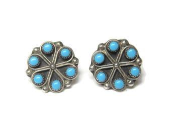 Vintage Sterling Zuni Snake Eye Turquoise Earrings