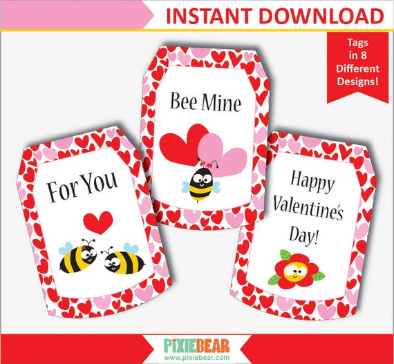 Valentines Day Tags Bee Valentine Gift Tags Valentines