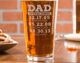 Dad Established Glass, Personalized Beer Glass, Custom Pint Glasses, Dates, Gift from Wife, Engraved Beer Gifts, Cheers, Dad Est Glass