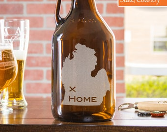 21st Birthday Gift For Him, Beer Growler, Engraved Growler, Personalized Gift, Wedding Beer Growler, Beer Lover Gift, State Growler,Michigan