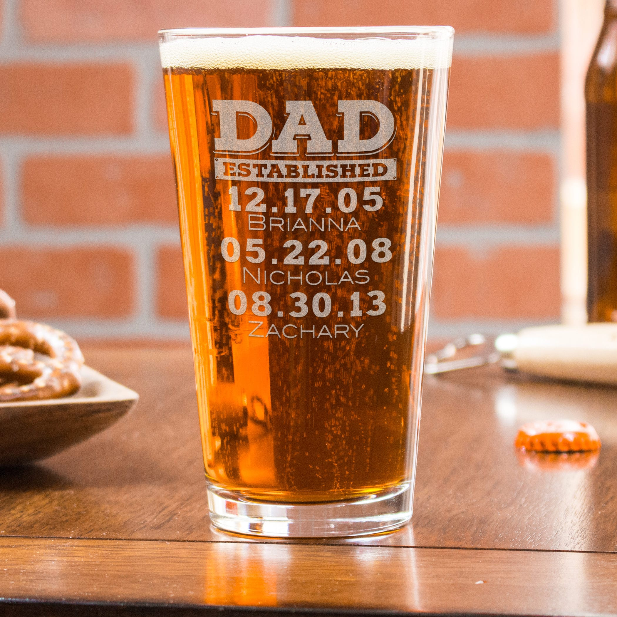 Dad Established Glass Personalized Beer Glass Custom Pint
