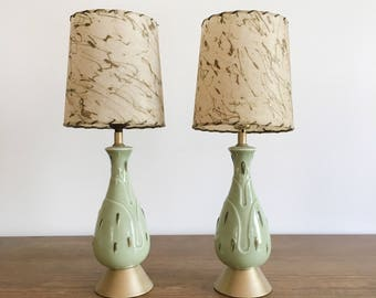 Mid-Century Table Lamps - Pair of Vintage Green Lamps with Fiberglass Lamp Shades