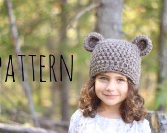Bear Hat Pattern, Crochet bear hat pattern, Crochet hat pattern