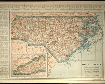 North Carolina Map North Carolina Railroad Antique Original