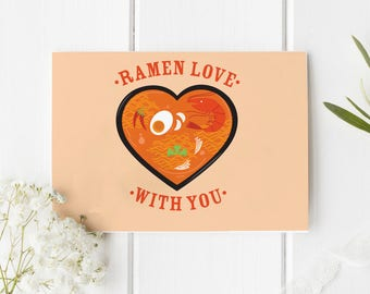 Ramen Love With You Folded Card | Funny, Cute, Valentine, Holiday Greeting Stationery, Relationship, Salutations, Noodles, Food