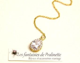 Bijoux mariage de dos, pendentif de dos, pendentif cristal zircon, pendentif mariage de dos, collier de dos, bijou de dos mariée, bijoux