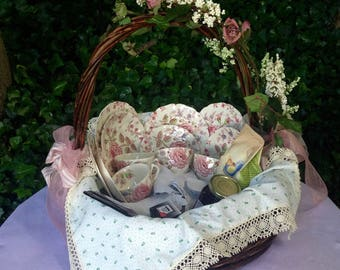 High tea gift basket for four with Rose Chintz trios by Johnson Brothers. Rustic floral decorated basket with liner and linens.
