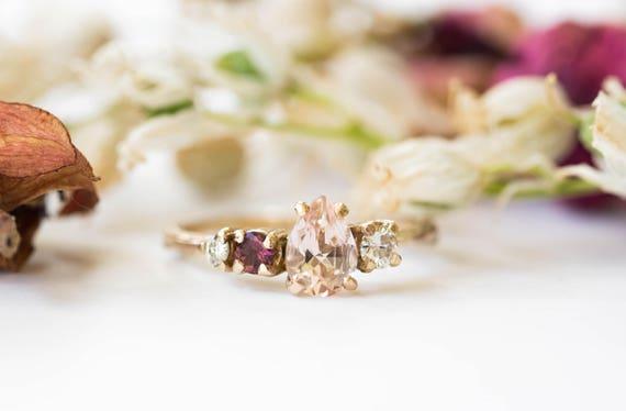Cluster 14k gold morganite twig engagement ring, cluster engagement ring, asymmetrical morganite engagement ring, moissanite gold twig ring