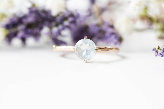 14k gold moonstone engagement ring, gold twig engagement ring, butterfly setting twig engagement ring, moonstone gold engagement promise