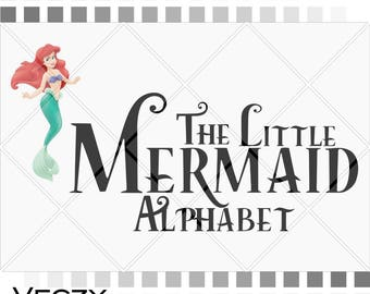 The Little Mermaid font, The Little Mermaid Alphabet svg, Letters svg,Numbers svg, svg files, svg files for cricut, AL00021