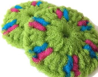 "Pot Scrubbers,Set of 2 through 8 ""Springy Green"" Dish Scrubbies,Nylon Pot Scrubber, 5 Inch Double Layered Sponge,Nylon Net Crochet Scrubber"