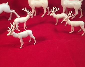 Set of Seven vintage plastic Christmas Decorations Reindeer