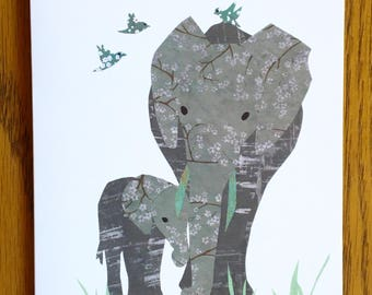 Elephant Love Card, Mother and Baby, Animal Card, African card, cut paper art, baby greeting card, nursery, kids card, baby elephant