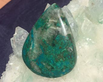 Large Chrysocolla Teardrop Cabochon 39 mm x 30 mm