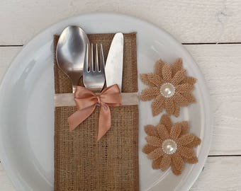 Burlap Silverware Holder -Cutlery Pocket - Cutlery Sleeve - Rustic Wedding Table Decor- Flatware Holder - Choose Qty and Color