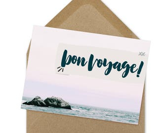 bon voyage card, moving card, goodbye card, farewell card, printable | A6