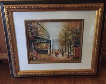 Vintage Signed Oil Painting Paris Street Burnett