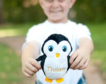Personalized Stuffed Penguins, Custom Stuffed Toy, Penguin Baby Shower, Toy for 4 Year Old, Baby Gift,  Gift for Grandkids, Gift for Kids