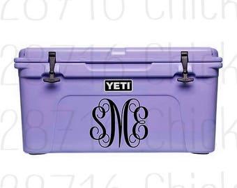 Yeti Cooler Monogram Decal | Yeti Decal | Monogram Decal | Vinyl Decals for Yeti | Cooler Decal | Yeti Decal |