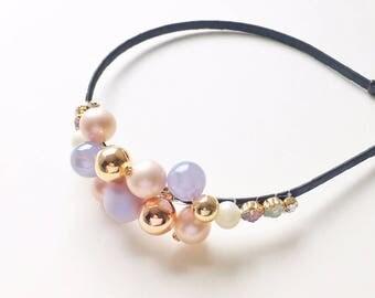 Pastel Bubbles Headband - Wedding headband - Party headband - Lavender headband - Beaded headband - Adult headband - Lavender and Gold