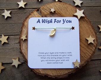 Gold Leaf Wish Bracelet, Gold Wish Bracelet, Leaf Friendship Bracelet, Leaf Jewelry, Leaf Charm Bracelet, Cord Bracelet, Bridesmaid Gift