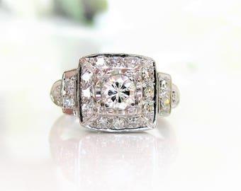 Art Deco Engagement Ring 0.69ctw Old Cut Diamond Platinum Wedding Ring Antique Engagement Ring