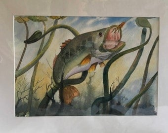 Taking the Bait largemouth bass watercolor