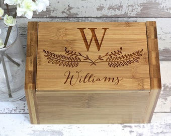 Custom Recipe Box, Personalized Family Name Recipe Box, Made of Bamboo