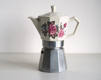 Porcelain mocha pot with pink roses decor from Italy, stovetop coffee maker, vintage chic