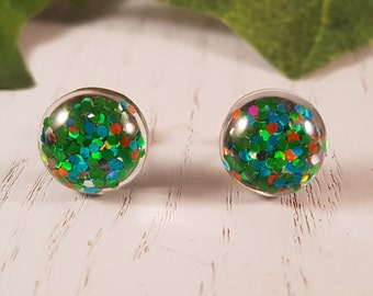 Green Button Stud Earring - Hypo-Allergenic Surgical Steel