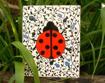 Large Hand Painted Garden Tile - Ladybird Design - One Of A Kind -  Garden Wall Art