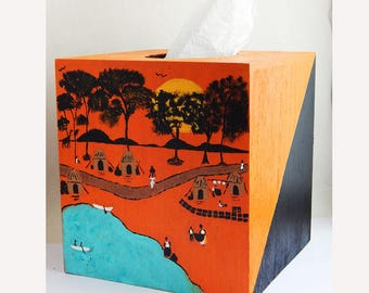 African Village Tissue Box Cover Home Decor Orange Blue Black Afrocentric Handmade The Blacker The Berry
