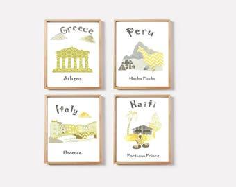 11,Baby nursery art print,travel nursery,gray,yellow,Italy,Greece,Peru,Haiti,tableau chambre enfant