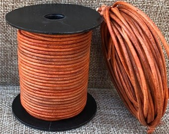 2mm Round Leather Cord Distressed Tangerine Natural Dye 1 Yard to 15 Yards Round Leather Cord Made In India - LCR2-3021