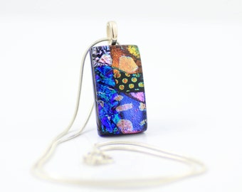 Small Fused Glass Pendant-Elegant Dichroic Glass Necklace-Cobalt Blue and Rainbow Rectangular Shaped Pendant-Dichroic Glass Jewelry. JBT521