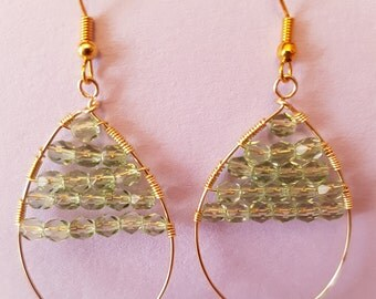 Light green chandelier teardrop earrings