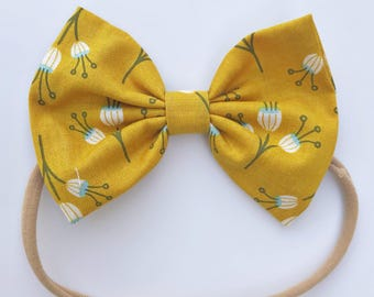 Mustard Poppies: baby bow,  mustard baby bow, yellow bow, yellow infant bow