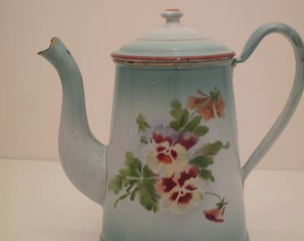 French small enameled coffee pot / jug / pitcher. Country Flowers enamelware French Kitchen enamel
