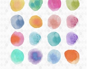 Watercolor Blobs, Watercolor Circles, Watercolor Clipart, Watercolor Balls, Decal for Shops, Rainbow Circles, Commercial Use