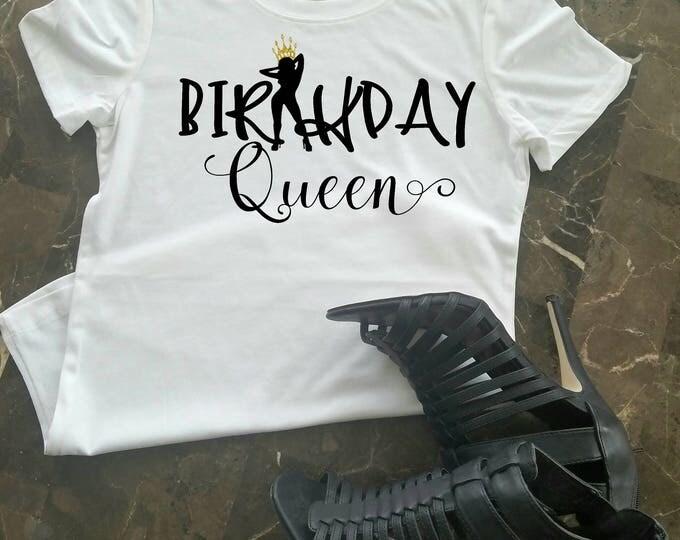 Birthday Queen Shirt, Birthday Shirt, Women's Birthday Shirt, Ladies Birthday Shirt, Birthday Girl, Black and Gold Shirt Birthday Shirt