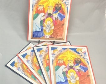 "5 Blank cards 5"" X 7"" with envelopes - original art print ""The Nativity"" - Christian greeting card"