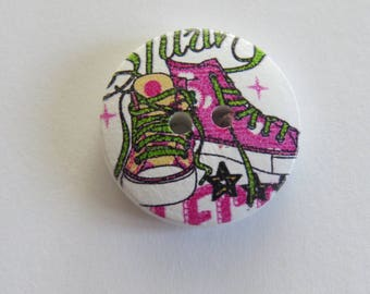 Pink and yellow sport shoe pattern wooden button