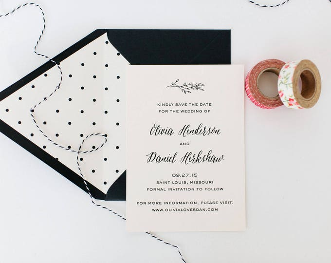 olivia save the date invitation (sets of 10)  //  winery olive branch laurel black white neutral calligraphy romantic modern invite
