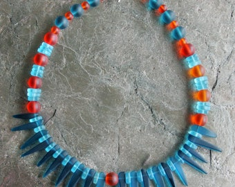 """Sea Glass Necklace in Turquoise and Orange - 17.5"""""""