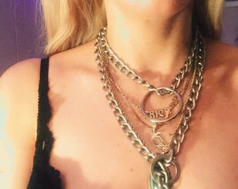 Adjustable Chain and O ring collar or belt 38""