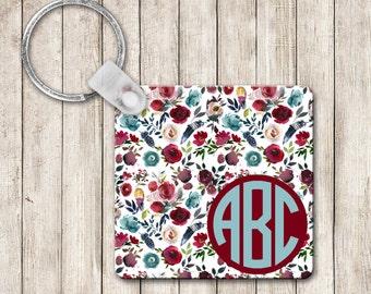 Monogram Keychain ~ Personalized Keychain ~ Floral Keychain ~Square Keychain ~ Key Chain ~ Custom Keychain ~ Key Tag ~ Sweet Sixteen Gift