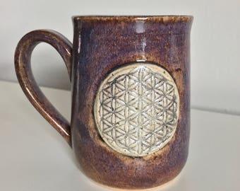 11 oz Handmade Mug / Flower of Life / Wheel Thrown  / Purple / Brown