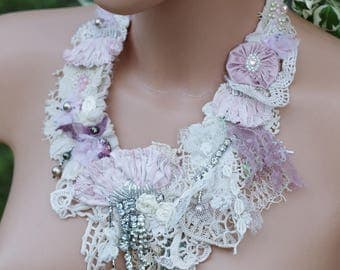 Marie Antoinette necklace, shabby chic tattered statement necklace, Mori Girl, Victorian necklace, vintage lace BIB necklace, Baroque choker