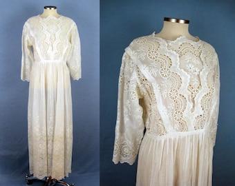 1900s Edwardian Dress /  Edwardian Tea Dress / Broderie Anglaise / Scalloped Edges