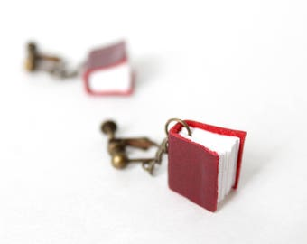 Mini Book Clip On Earrings; Tiny Real Leather and Paper Book Charm Short Drop Nonpierced Earrings, Gift for a Book Lover, Librarian, Author